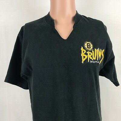 Vintage 90s Salem Sportswear Boston Bruins Cut V Neck T-Shirt L NHL Hockey  Sewn 66920a07b