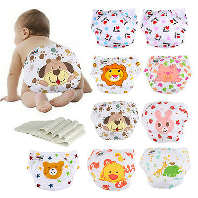 5 Diapers +5 INSERTS Baby Washable Adjustable Reusable Cloth Diaper Nappies Lot