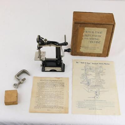 RARE 1901 Antique Smith & Egge Childs Automatic Hand Sewing Machine Box & Papers