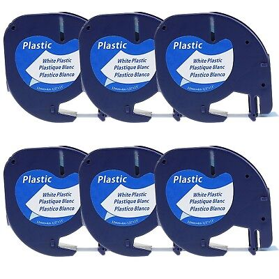 Compatible Dymo Letratag Refills White Plastic, 6 Pack Compatible Black on White