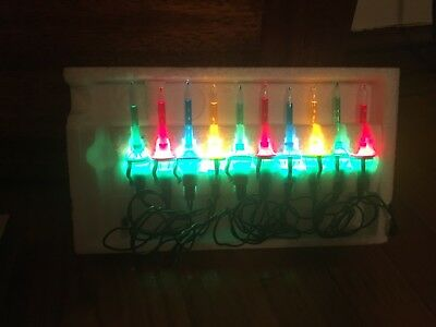 vintage set of 10 tiny or mini bubble christmas tree lights never used
