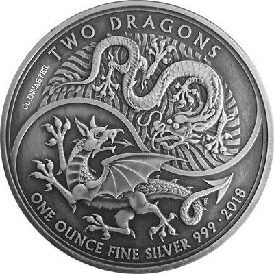 United Kingdom 2018 £2 TWO DRAGONS Antique Finish 1 Oz Silver Coin.