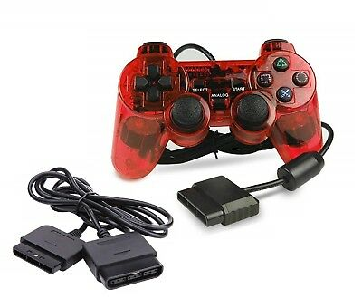 New CLEAR RED Twin Vibration PS2 Controller + 6' Extension Cable (PlayStation 2)