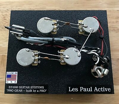 Gibson Les Paul ACTIVE PICKUPS (EMG) Wiring Harness NEW!