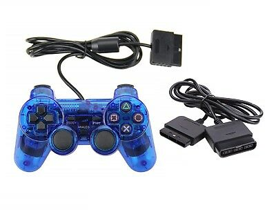 New CLEAR BLUE Twin Vibration PS2 Controller +6' Extension Cable (PlayStation 2)