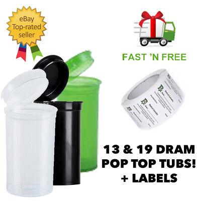 13/19 Dram Pop Top Squeeze Rx Medical Stash Smellproof Tubs Snap Pots + Labels