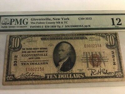 *low Serial #215 1929 $10 Nb Gloversville, New York Ch. 3312 Pmg 12 Type 1