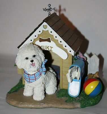 Danbury Mint HOME SWEET HOME Bichon Frise Dog House Sculpture Figurine Statue