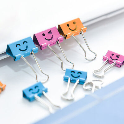 10pcs Smile Face Binder Clip Hollow Out Metal Books File Paper Organizer New