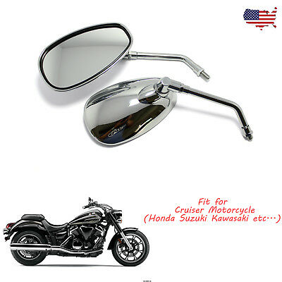 Chrome Motorcycle Oval Rearview Side Mirrors 10Mm For Honda Suzuki Kawasaki Bike