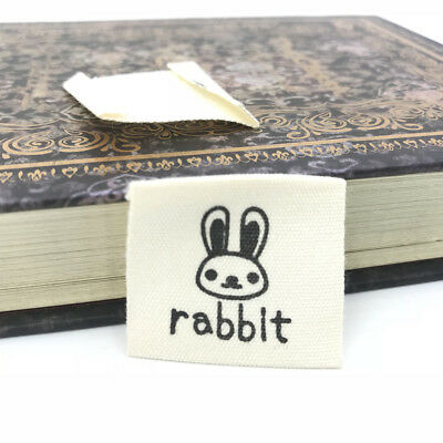 NEW 50X  rabbit Printing cloth Tag Washable Clothing Woven Sewing Accessorie