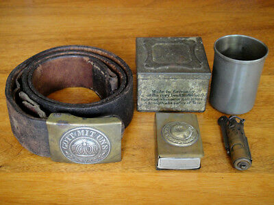 WWI Issue Imperial German Belt, Matchbox Cover, Lighter, Trench Cup & Box