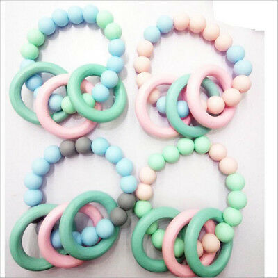 DIY 1pcs Baby Wooden Teether Bracelet Natural Wood Ring Silicone Beads Safe Toys
