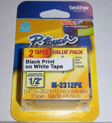 "Brother M231 P-Touch Label Tape Ptouch ORIGINAL NIB 1/2"" M-231 M-2312PK-2Pack"