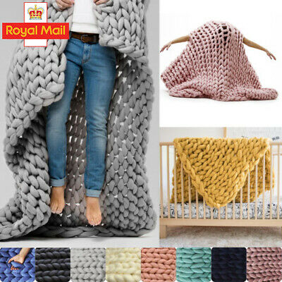 Hand-woven Bulky Soft Chunky Knit Blanket Thick Yarn Bedding Sofa Knitted Throw