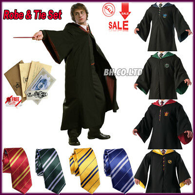 Cosplay Harry Potter Robe Costume Gryffindor Slytherin Scarf Tie Cape LED Wand