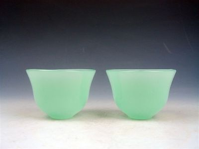 Pair Green Jade Crafted Decorative Tea Cups Home Decor