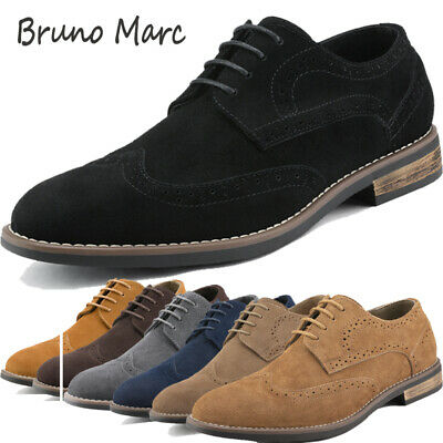 BRUNO MARC Mens Oxford Shoes Lace Up Classic Casual Wingtip Suede Leather Shoes