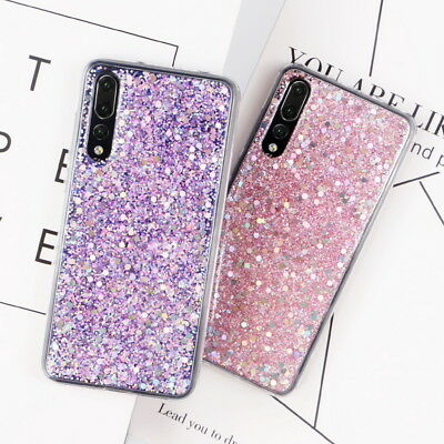 For Huawei P20 Pro Mate 20 P9 Lite P30 Pro Bling Glitter Soft Rubber Case Cover