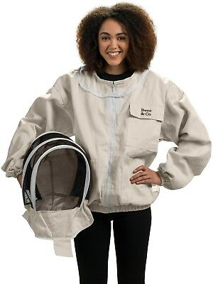 Bees & Co K74 Natural Cotton Beekeeper Jacket with Fencing Veil (XX-Large)