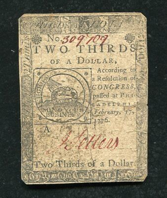 """February 17, 1776 $2/3 Two Thirds Of A Dollar Continental Currency """"Fugio"""""""