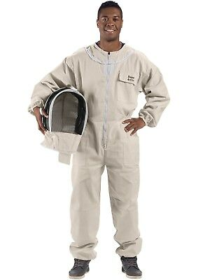 Bees & Co U74 Natural Cotton Beekeeper Suit with Fencing Veil (Large)