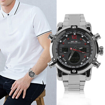 WEIDE Fashion Luxury Brand Watches Men's Stainless Steel Strip Wrist Watches ~~