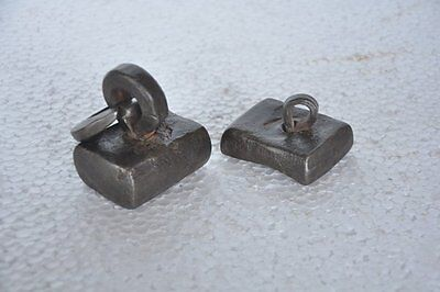 2 Pc Old Iron Solid Heavy Tribal Square Shape Measuring Weight