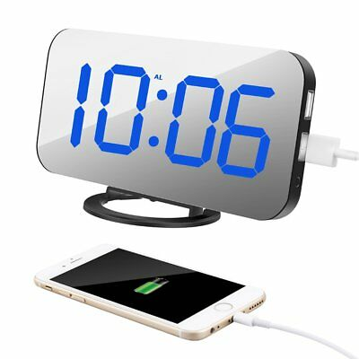 """TISSA [Upgraded] Alarm Clock with Dual USB Port and Charger, 6.5"""" Large Number"""