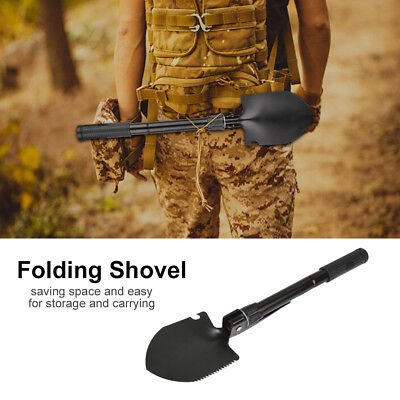Military Folding Shovel Saw Survival Spade Outdoor Tool Camp Hiking Compass DY