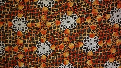 Vintage Hand Made Crocheted Doily or Table Topper - Orange Rectangle 28 x 30
