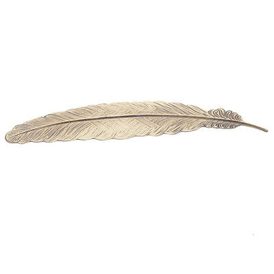 Bronze Feather Shaped  Plated Metal Bookmarks Book Markers Gift For Readers Z