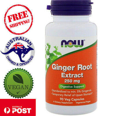 Now Foods, Ginger Root Extract, 250 mg, 90 Vegan Capsules - Digestive Support*
