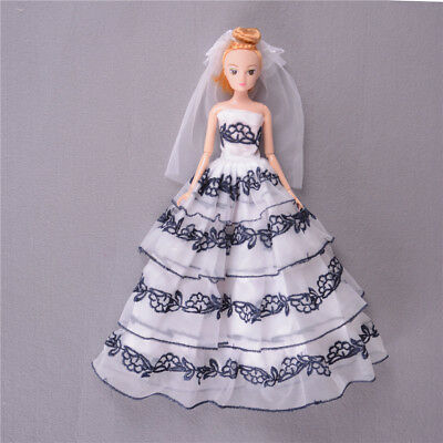 Beautiful Handmade Doll Wedding Dress Clothes Barbie Doll Party Gown Outfit AU