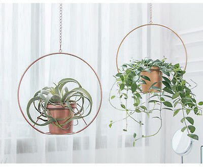 Boho Gold Metal Plant Hanger,Modern Round Hanging Planter Plant Holder Decor