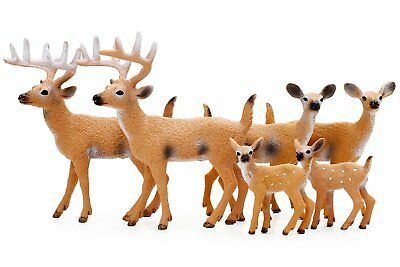Restcloud Miniature Deer Family Toy Figurines - Set of 6 Figures, White-Tailed 2
