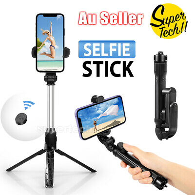 NEW Wired / Bluetooth Extendable Handheld Remote Selfie Stick Built in Remote AU
