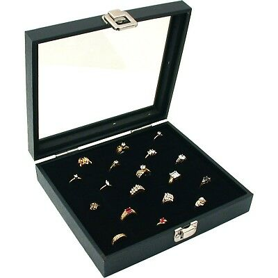Ring Box Organizer 36 Slots Ring Insert With Glass Top Display Case