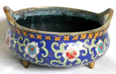 C19Th Heavy Bronze Chinese Incense Burner Bowl With Cloisonne Decoration