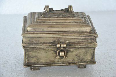 Old Brass Solid Handcrafted Unique Heavy Jewellery Box , Rich Patina
