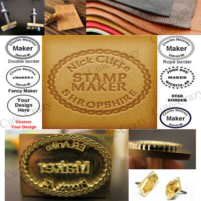Custom Made Makers Logo Leather Stamp Branding Iron Wood Stamp Metal Handle
