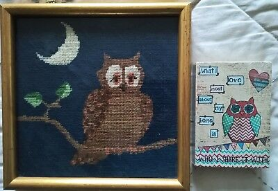 Embroidery type sleepy night-time owl framed picture  & wall-hanging owl .