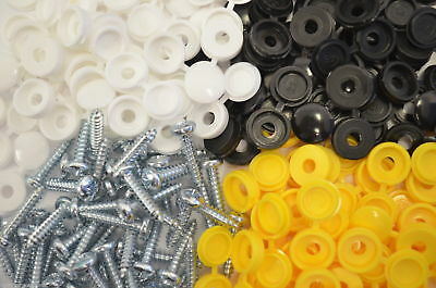 6 X Pack Number Plate Screw Cap Fitting Fixing Black Yellow White Set Kit 2 Each
