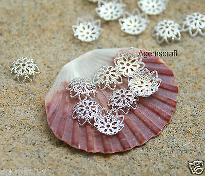 26 nice bright Silver plated delicate 10mm Filigree Flower Bead Caps Brand new