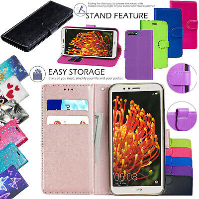 For Huawei Y6 2018 - New Leather Magnetic Flip Wallet Book Stand Case Cover