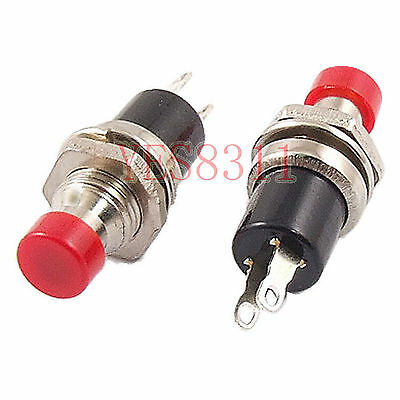 10pcs Mini Push Button SPST Momentary N/O OFF-ON Switch 10mm Red