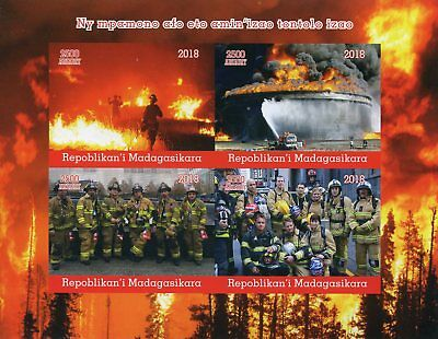 Madagascar 2018 MNH Fire Engines Fighters Brigade 4v IMPF M/S Trucks Stamps