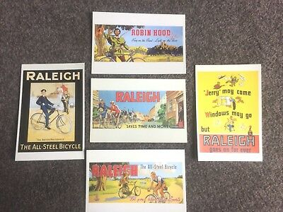 NEW OLD STOCK 5 VINTAGE RALEIGH POST CARDS,1940/50s,ROBIN HOOD,ALL STEEL,EX COND