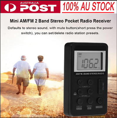 Mini Portable Pocket AM FM 2Band LCD Stereo Radio Speaker 3.5mm Earphone Jack