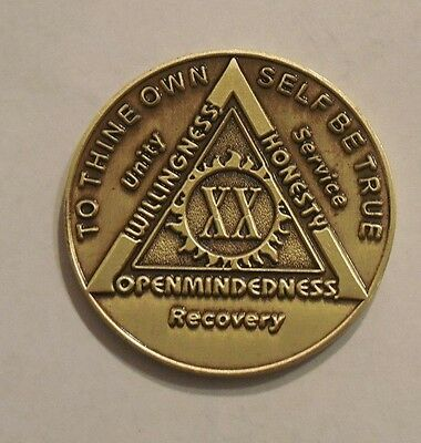 aa bronze alcoholics anonymous 20 year sobriety chip coin token medallion NEW